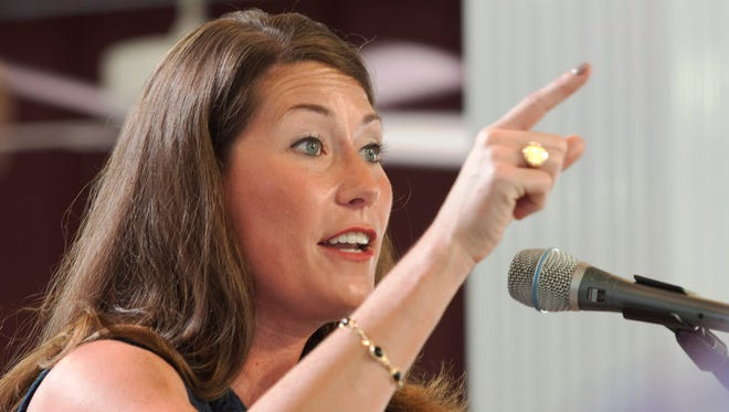 Kentucky Secretary of State and Democratic Senate candidate Alison Lundergan Grimes speaks in Fancy Farm, Ky., on Aug. 2.