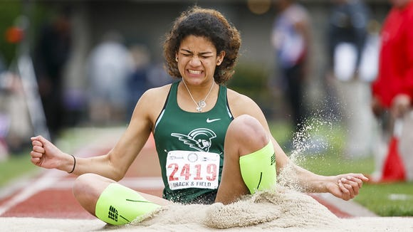 West Salem's Taylor McCarrell competes in the triple jump at the 2017 OSAA track and field state championships on Saturday, May 20, 2017, at Hayward Field in Eugene, Ore. McCarrell won the 6A girls triple jump.