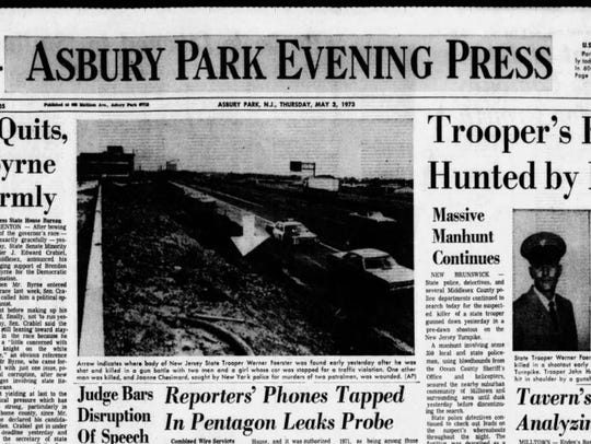 The cover of the Asbury Park Evening Press on May 3, 1973. Authorities were still searching for one of the parties to the shootout at the time.
