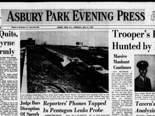 The cover of the Asbury Park Evening Press on May 3, 1973.