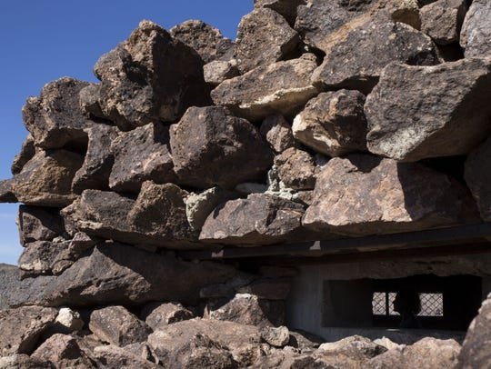 Rhyolite rocks camouflage the defensive pillbox on