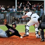 Flagler's Todd Juliano (15) is tagged out at home by Florida Tech catcher Austin Allen during Tuesday's game in Melbourne.
