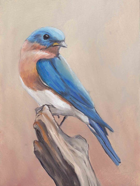 """""""Bluebird,"""" an oil painting 5-by-7-inches by Hanover artist Charlotte Yealey, is the August giveaway at the Drawing Room Gallery in Gettysburg."""