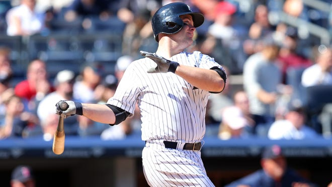 Brian McCann was hit in the hand when it deflected off A.J. Pierzynski.