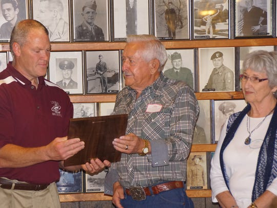 A presentation of a Greyhound Plaque was made to Loyal High School Principal Chris Lindner. The plaque includes the history of how the Loyal High School Maroons became the Loyal High School Greyhounds in December 1954. The class of 1956 was instrumental in the change as Sparky Rogstad and the Letterman's Club approached Coach Dennis Helixon and then-principal Warner Berry with the idea. The idea was then voted on by the high school students.