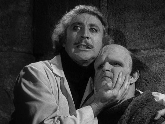 "The late Gene Wilder is Dr. Fronk-en-Steen and Peter Boyle is his monster in ""Young Frankenstein,"" which stomps again Friday at Elmwood Cemetery."
