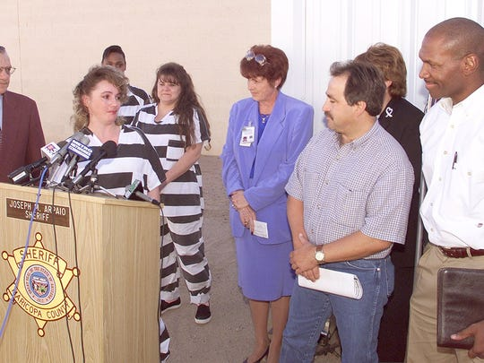 Inmate Dawn Curtis thanks Rick Rodriguez (third from