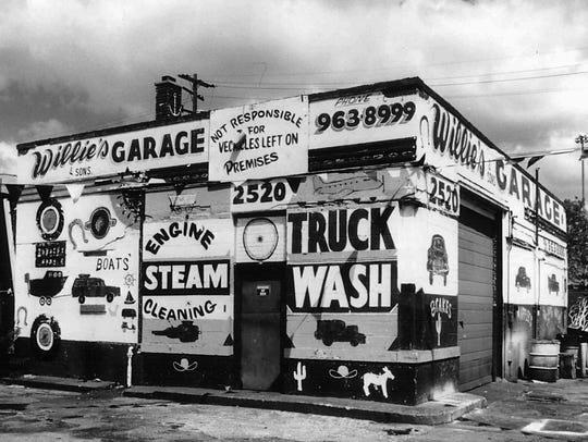 This photo of Willie's Garage was part of an exhibit