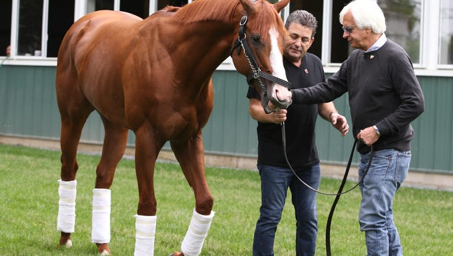 Bob Baffert brings Triple Crown winner Justify out to see the media outside of the barn at Belmont Park on Sunday morning.June 10, 2018