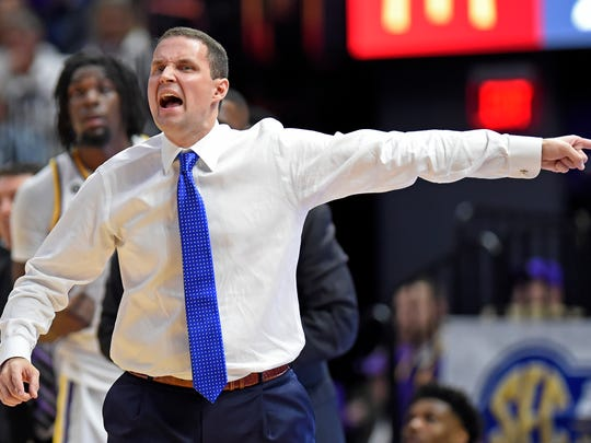 LSU head coach Will Wade reacts to a call on one of his players in the first half of an NCAA college basketball game against Auburn, Saturday, Feb. 9, 2019, in Baton Rouge, La. (AP Photo/Bill Feig)