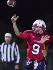 Strathmore quarterback Nick Salas fires a pass against Horizon Christian Academy in the 2016 CIF South Division 6-A Regional Football Championship Bowl Game. Salas is returning for his senior season.