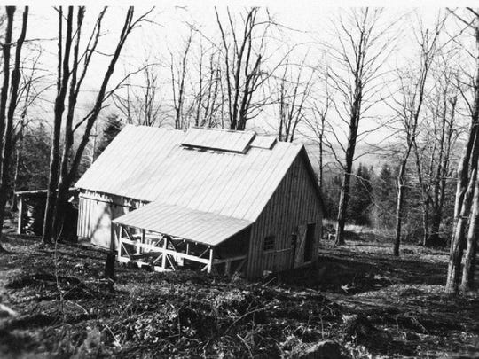 A 1948 photo of the sugarhouse at the Proctor Maple Research Farm in Underhill Center.