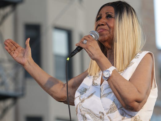 Aretha Franklin performs on the main stage during the
