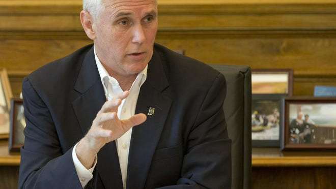 Indiana Gov. Mike Pence (here speaking about the legislative session during a news conference at the Statehouse on April 30, 2015) announced Thursday, June 18, 2015, that he would seek re-election.