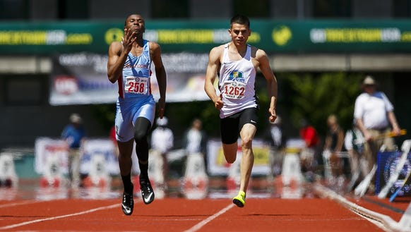 McKay's Israel Garza crosses the finish line at the