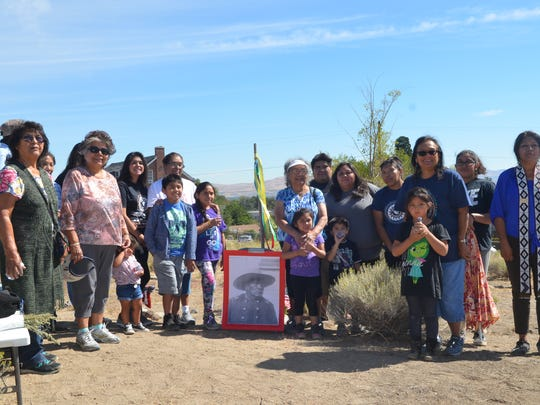 Members of the Reno-Sparks Indian Colony gathered for a blessing ceremony at the Hillside Cemetery on Sept. 17, 2016.