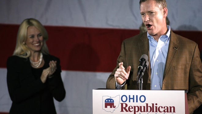 With his wife Karen in the background, U.S. Rep. Steve Stivers thanks his supporters Nov. 6, 2012, after his electoral victory. Stivers recently said he is considering whether to support an effort to legalize marijuana in Ohio.