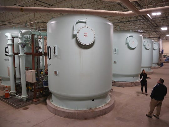 Inside the Des Moines Water Works nitrate removal facility at the Fleur Drive treatment plant in 2017.