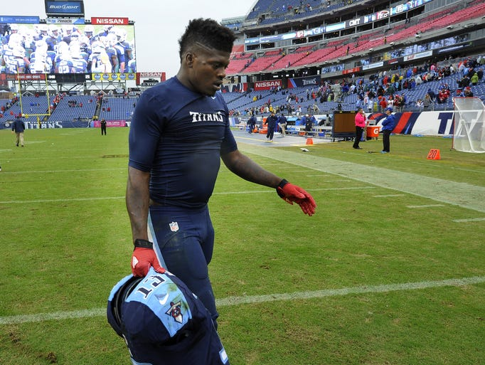Wide receiver Kendall Wright walks off the field after