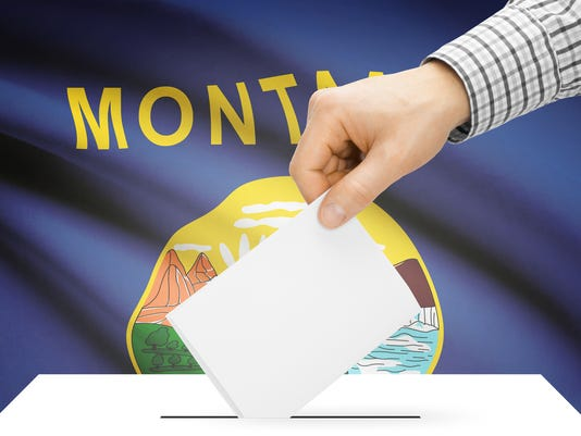 Ballot box with US state flag on background - Montana