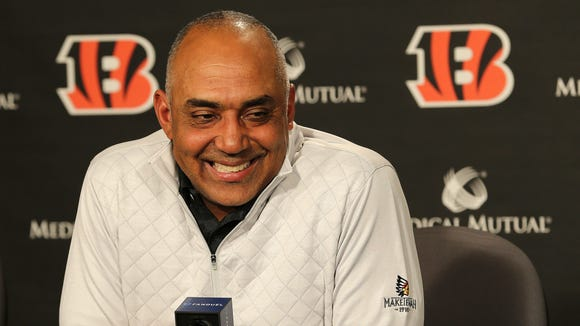 Cincinnati Bengals head coach Marvin Lewis takes questions