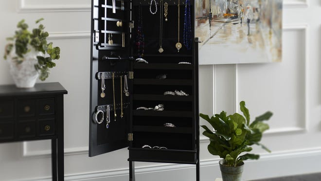 An armoire can be used to organize your jewelry.