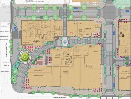The landscape and hard-scape plan for downtown Palm