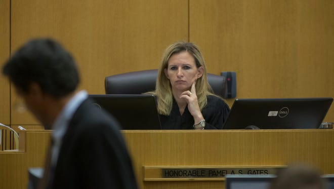 Judge Pamela Gates listens to testimony Sept. 18, 2017, in Maricopa County Superior Court in Phoenix.