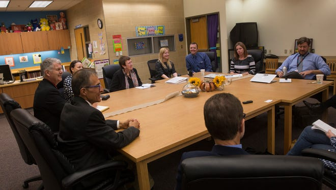 Local educators meet with education leaders from Berlin, Germany, on Tuesday at Animas Elementary School in Farmington.