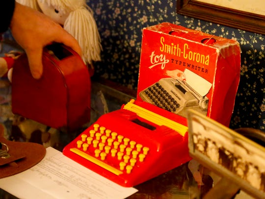 A toy Smith Corona typewriter, circa-1970, on display at the Groton Historical Society. The company began to shift its focus to electric typewriters in 1955.