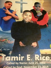 Funeral program cover for Tamir Rice, 12, who was shot