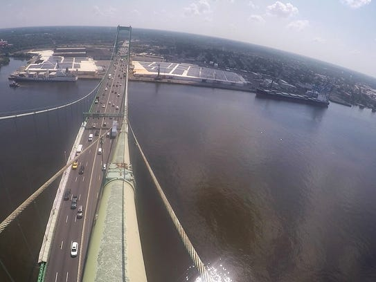 A view from a tower top of the Walt Whitman Bridge