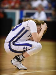 Cedar Crest's Alyssa Austin reacts after the Falcons fell to Central Dauphin in the District 3 6A semifinals Tuesday, Feb. 28, at the Giant Center in Hershey. The 42-38 defeat was Crest's first of the season.