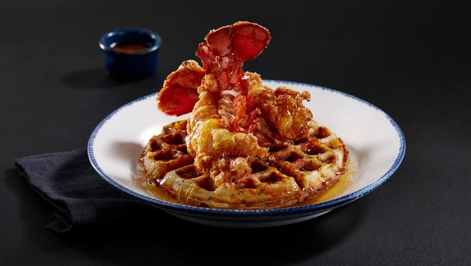 Red Lobster's new fried lobster and waffles dish.