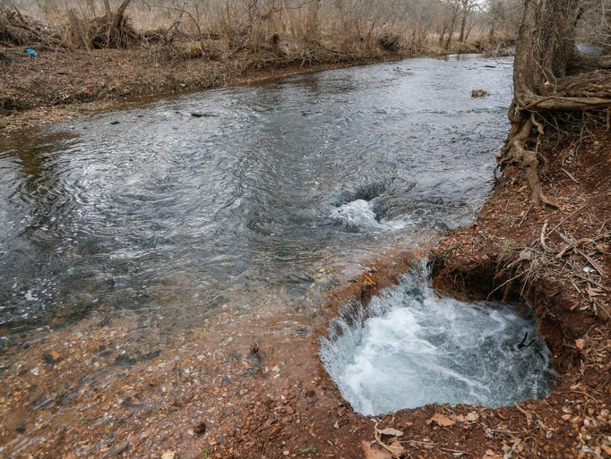 A new swallow hole has opened up on Wilson's Creek