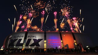A general view of University of Phoenix Stadium during the Super Bowl XLIX halftime show featuring Katy Perry in Glendale on Feb. 1, 2015.