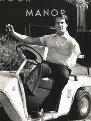 Kevin Reilly in a golf cart on May 17, 1981,