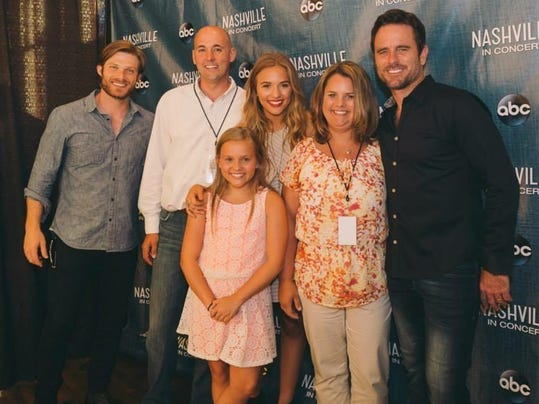 Local couple won date night trip to nashville katie second from right and steve carlin second from left pose for a photo at a vip meet and greet with the stars of abcs nashville photo provided m4hsunfo Image collections