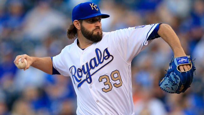 Kansas City Royals starting pitcher Jason Hammel delivers to a Cleveland Indians batter during the first inning of a baseball game at Kauffman Stadium in Kansas City, Mo., Friday, May 5, 2017. (AP Photo/Orlin Wagner)