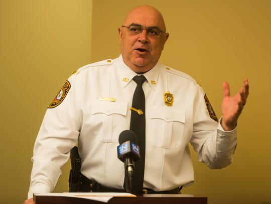 """Bridgeton police Chief Mike Gaimari said his officers """"buy in"""" to the new addiction counselling service Cumberland C.A.R.E.S. (an acronym  for Compassionate Addiction Recovery Equals Success) Peer Recovery Coach Law Enforcement Initiative. He was a speaker at a press conference on Monday at the Cumberland County Prosecutor's Office."""