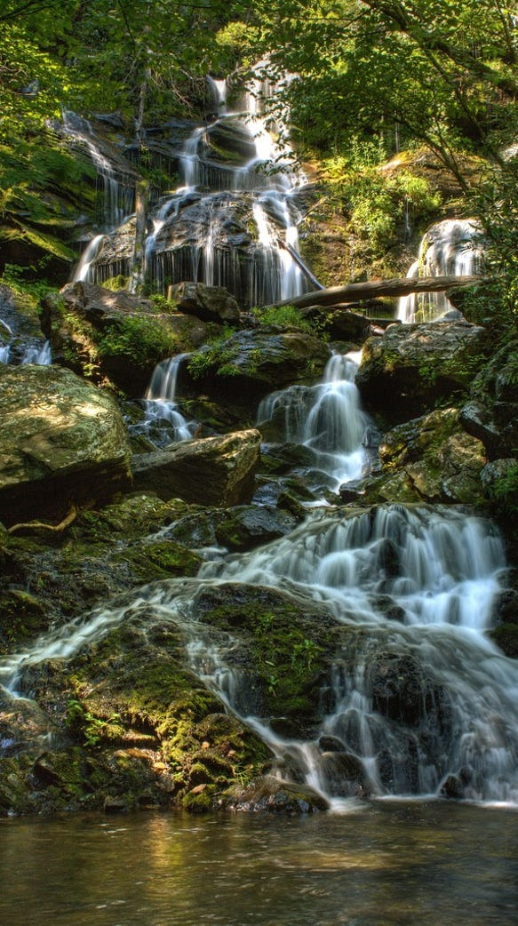 The Catawba Falls Trail in Pisgah National Forest.
