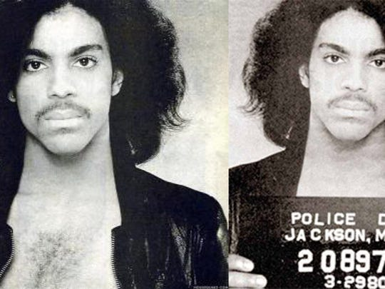 "Left: The original photo used for promotion for Prince's self-titled second album. Right: The purported Prince ""mugshot"" seen on the internet."