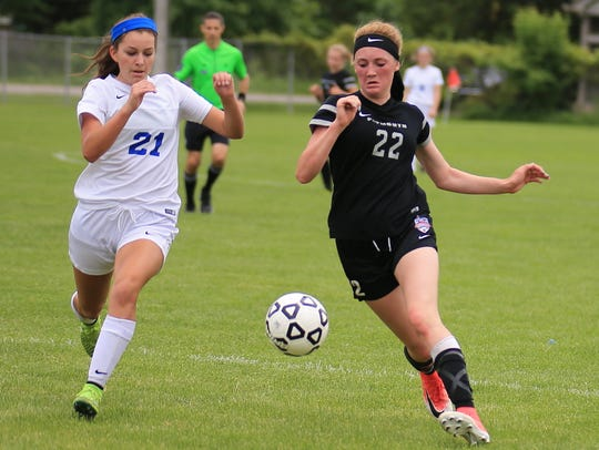Plymouth's Elle McCaslin (22) pushes the ball past