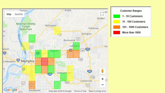 MLGW map shows 3,414 customers without power July 6 after overnight storm.