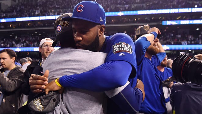Jason Heyward celebrates after the Cubs won the World Series, beating the Cleveland Indians in Game 7.