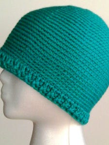 This chemo cap, made mostly of single crochet, is a nice solid fabric, which many patients seem to prefer.