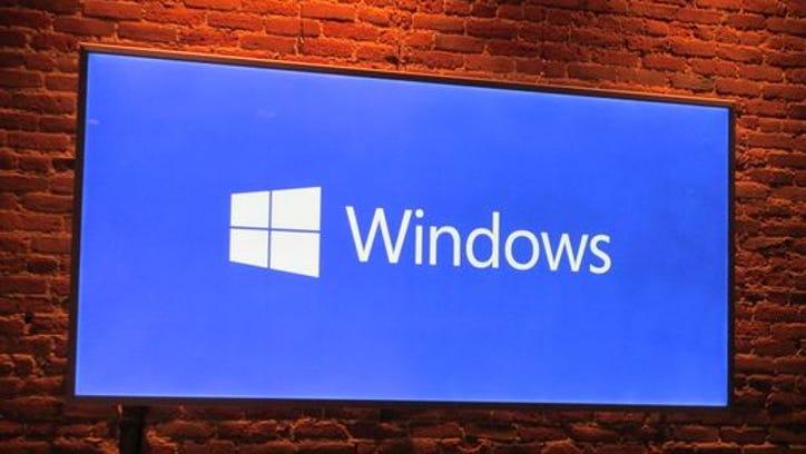 A Windows logo at Microsoft's press event in San Francisco.