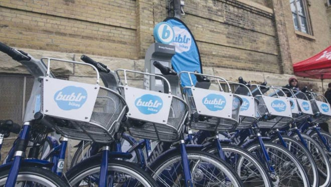 An area Bublr Bikes station has many bikes ready to roll.
