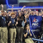The Baxter Bomb Squad robotics team celebrates in March of last year after winning the FIRST Arkansas Regional at Harding University. Eight current team members are headed to Washington, D.C., to advocate for more STEM education funding.