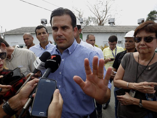 Puerto Rico Gov. Ricardo Rossello at a news conference